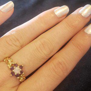 14k Flower Stone Opal Ring Purple Amethyst